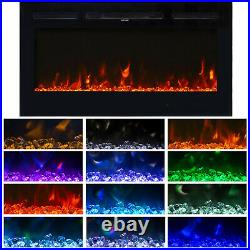 40 Electric Heater Wall Mounted Recessed insert Fireplace 12 Flame Remote Home
