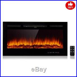 40 Embedded Fireplace Electric Insert Heater Multi-Color Flames w Remote