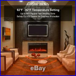 40 Inch Electric Fireplace Black Freestanding Heater Insert Wall Mounted Remote