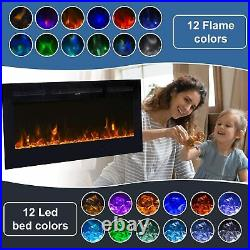 40 Inch Electric Fireplace Insert Wall Mounted Heat Adjustable Multicolor Flame