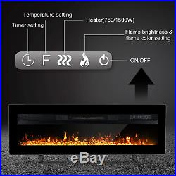 40 Inches Electric Fireplace Insert Wall Mounted Freestanding Heater With Remote