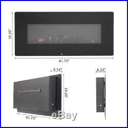 42 1400W Wall Electric Fireplace Insert Log F-lame Remote Control Warm L1C5