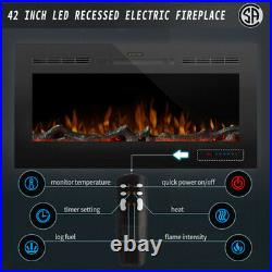 42'' Embedded Electric Fireplace Insert Heater 3 Flame Colors Remote Control Hot