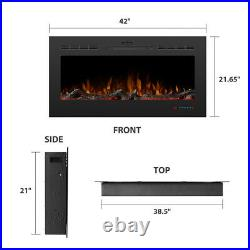 42 Recessed Electric Fireplace Wall Mounted Insert Heater Remote Control 1500W