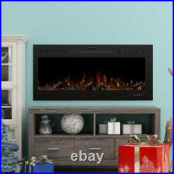 42'' Recessed LED Electric Fireplace Glass View 3 Log Flame Colors Insert Heater