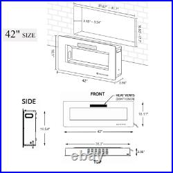42-inch Ultra-thin Wall-mounted Electric Fireplace Insert
