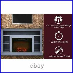 47 Electric Fireplace with Charred Log Insert and A/V Storage Mantel