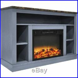 47 Electric Fireplace with Enhanced Log Insert and Blue Mantel