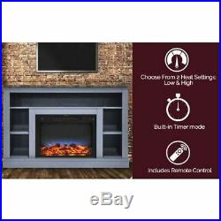 47 Electric Fireplace with a Multi-Color LED Insert and Blue Mantel