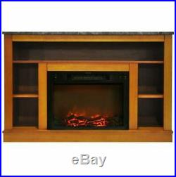 47 In. Electric Fireplace with 1500W Charred Log Insert and AV Storage