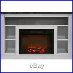 47 In. Electric Fireplace with 1500W Charred Log Insert and A/V Storage White