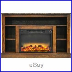 47 In. Electric Fireplace with Enhanced Log Insert and Walnut Mantel