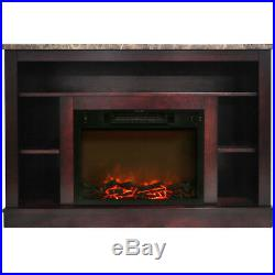 47 In. Electric Fireplace with a 1500W Log Insert and Mahogany Mantel