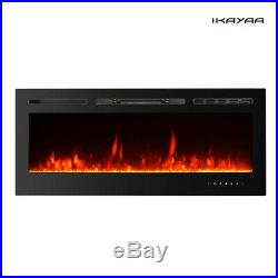 50Electric Fireplace Recessed Insert Wall Mount Heaters 3D Flame Fireplace D0W2