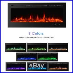 50Embedded Electric Fireplace Insert Heater Glass View with Remote Control R6O6