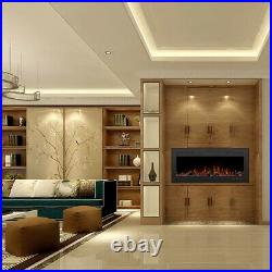 50'' 1500W Electric Fireplace Insert Wall Mounted Heater Remote Control 3 Flame