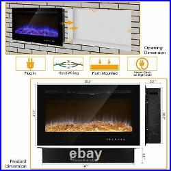 50 1500W Electric Fireplace Recessed / Wall Mount Insert Heater Multi Flames