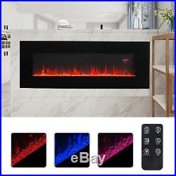 50 1500W Wall Mounted Insert Recessed Electric Fireplace Heater 3D Flame Logs
