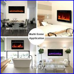 50 36 Electric Fireplace Recessed Wall Mounted Heater Flame Insert Ultra Thin