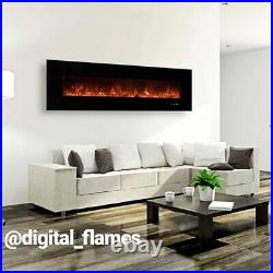 50 60 72 82 Inch Led Digital Flames Black Insert Wall Mounted Electric Fire New