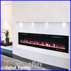 50 60 72 Inch Led'digital Flames' Black White Insert Wall Mounted Electric Fire