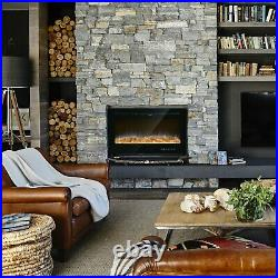 50'' 750W-1500W Fireplace Heater Electric Embedded Insert Timer Flame Remote