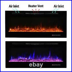 50 Electric Fireplace Recessed Insert OR Wall Mounted Heater Adjustable Remote