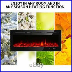 50 Electric Fireplace heater Recessed insert Wall Mount 3D Flame Log with Remote