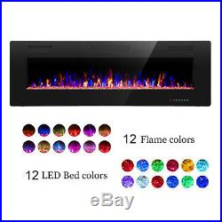 50''Electric Fireplace insert, Recessed&Wall-Mounted heater, Room Decor, remote