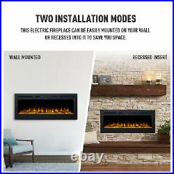 50 Electric Heater Recessed Wall Mounted Fireplace Insert w Remote Control