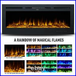 50 Electric Heater Recessed or Wall Mounted Fireplace Insert w 9 Flame Colors