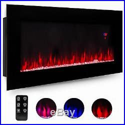 50 Electric Wall Mount Remote Control Fireplace Insert Heater Color Flame Glass
