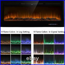 50 Embedded Fireplace Electric Insert Heater Glass View Wall Mounted Heater New