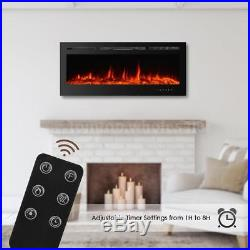 50 Freestanding Insert Heat Electric Fireplace Heater 3D Flame Logs Remote K3R6
