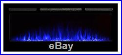 50 Inch Electric Fireplace Insert Wall Heater Mount Recessed Heaters Living Room