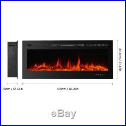 50-Inch Electric Fireplace Inserts Fireplace Remote Built-In Touch Control US