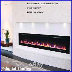 50 Inch Led Digital Flames Black White Insert Wall Mounted Electric Fire 2020