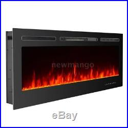 50 Insert Recessed Electric Fireplace Firebox Heater Remote control