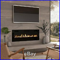 50 Ultra Thin Electric Fireplace Insert, Wall Mounted with Remote Control