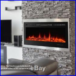 50 Wall Mounted Insert Heat Electric Fireplace Black 3D Flame Logs Heater Q3V1