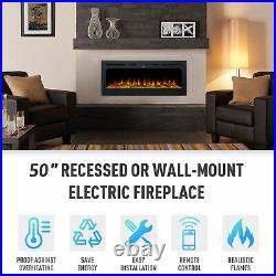 50 inch Recessed or Wall Mounted Electric Fireplace Insert with 9 Flame Colors