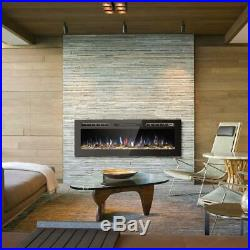 50in Fireplace Electric Embedded Insert Heater Glass Log Flame Remote 9 Color