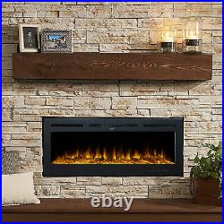 50in Recessed or Wall Mounted Electric Fireplace Insert w Remote 750W 1500W