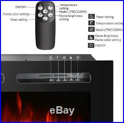 50inch Embedded Electric Fireplace Insert Heater Remote Control Multicolor Flame