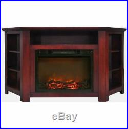 56 In. Electric Corner Fireplace in Cherry with 1500W Fireplace Insert