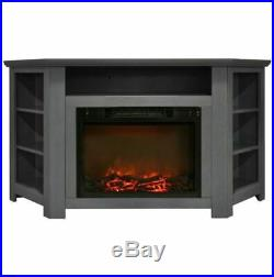 56 In. Electric Corner Fireplace in Gray with 1500W Fireplace Insert
