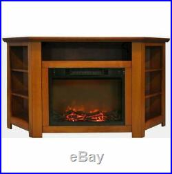 56 In. Electric Corner Fireplace in Teak with 1500W Fireplace Insert