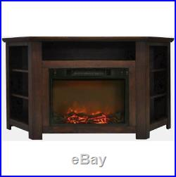 56 In. Electric Corner Fireplace in Walnut with 1500W Fireplace Insert