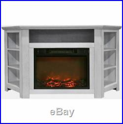 56 In. Electric Corner Fireplace in White with 1500W Fireplace Insert