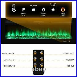 60Electric Fireplace Recessed insert Wall Mounted Standing Electric Heater Home
